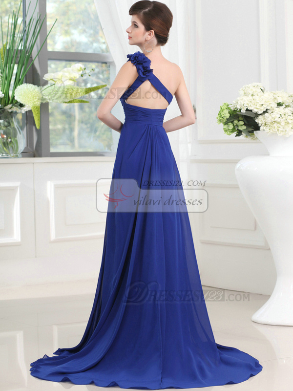 Astonishing A-line One shoulder Sweep Split Front Prom Dresses