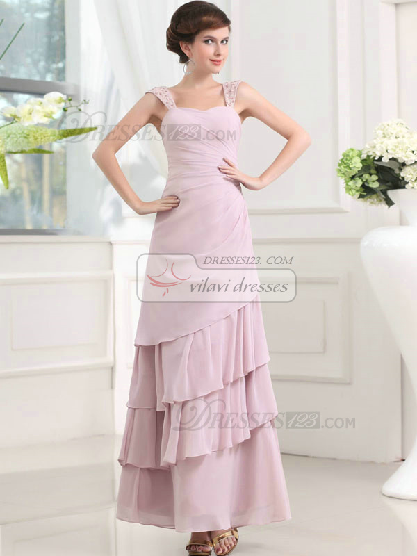 Snazzy A-line Chiffon Ankle-length Tiered Prom Dresses