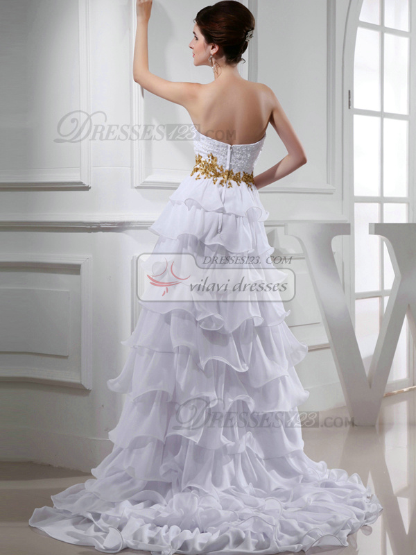 Phenomenal A-line Chiffon Asymmetrical Train Cascading Ruffle Prom Dresses