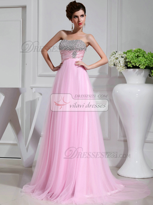 Terrific A-line Chiffon Sweetheart Crystal Evening Dresses