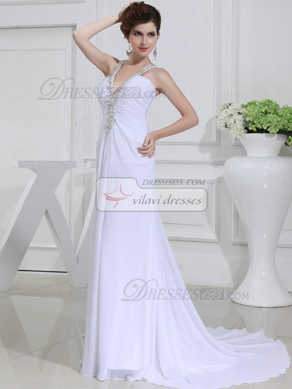 Phenomenal A-line Chiffon Halter Appliques Evening Dresses