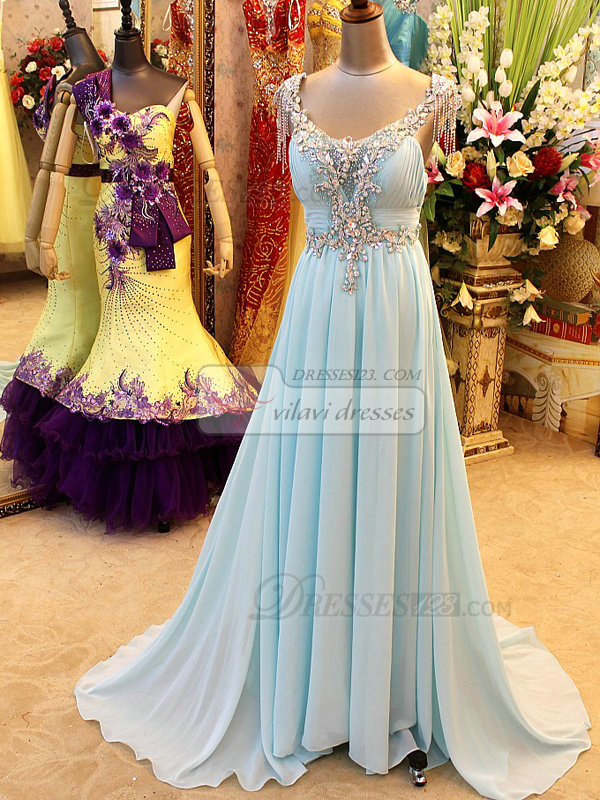 A-line Scoop Jewelry Neck Sweep Train Chiffon Crystal Backless Prom Dresses