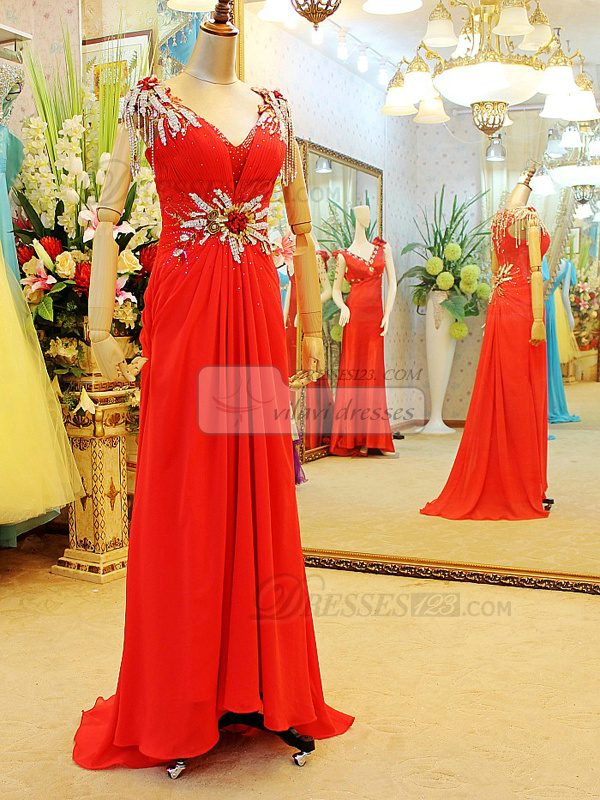 Column V-neck Sweep Train Chiffon Crystal Prom Dresses