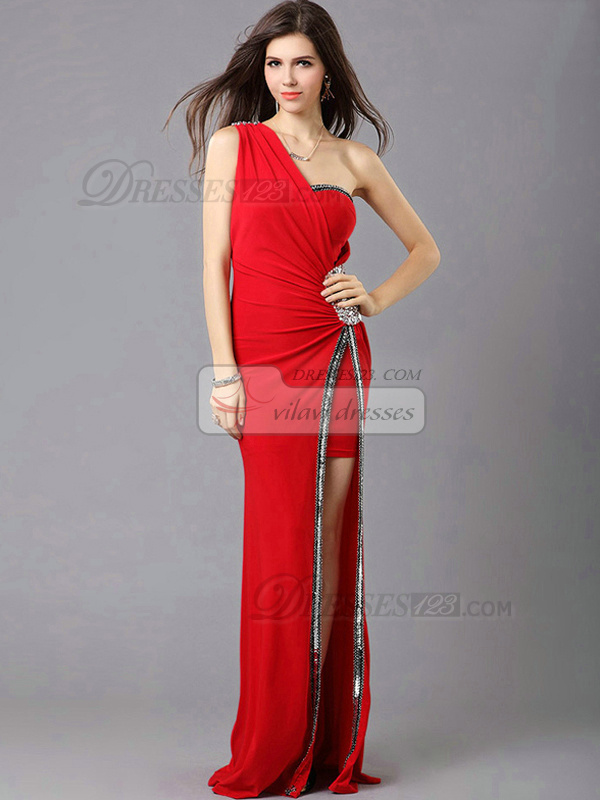 Sheath One Shoulder Sweep Train Chiffon Sequin Split Front Prom Dresses