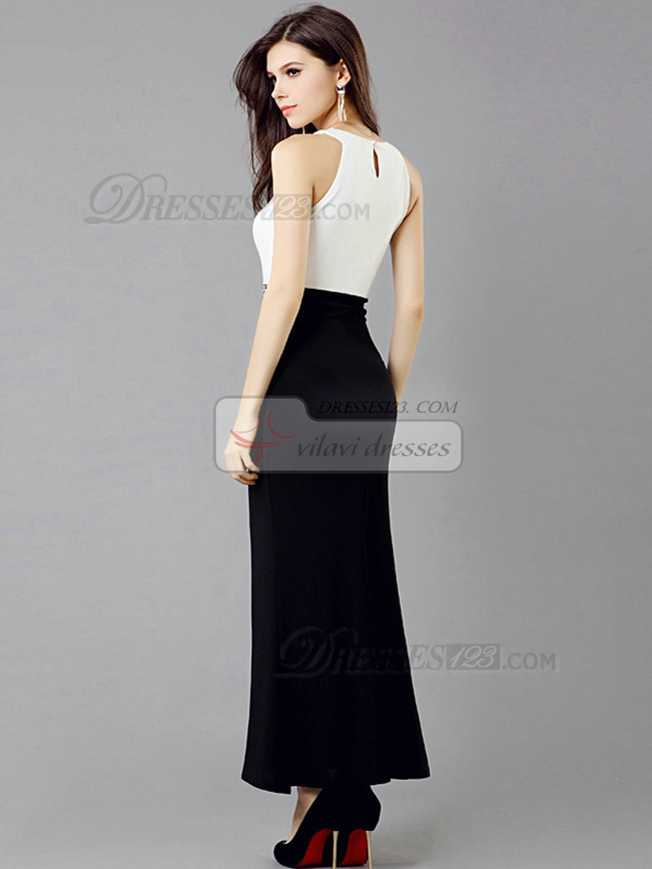 Sheath Round Brought Ankle-length Chiffon Crystals Evening Dresses