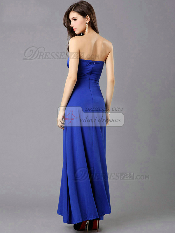 Column Tube Top Floor-length Chiffon Split Front Prom Dresses