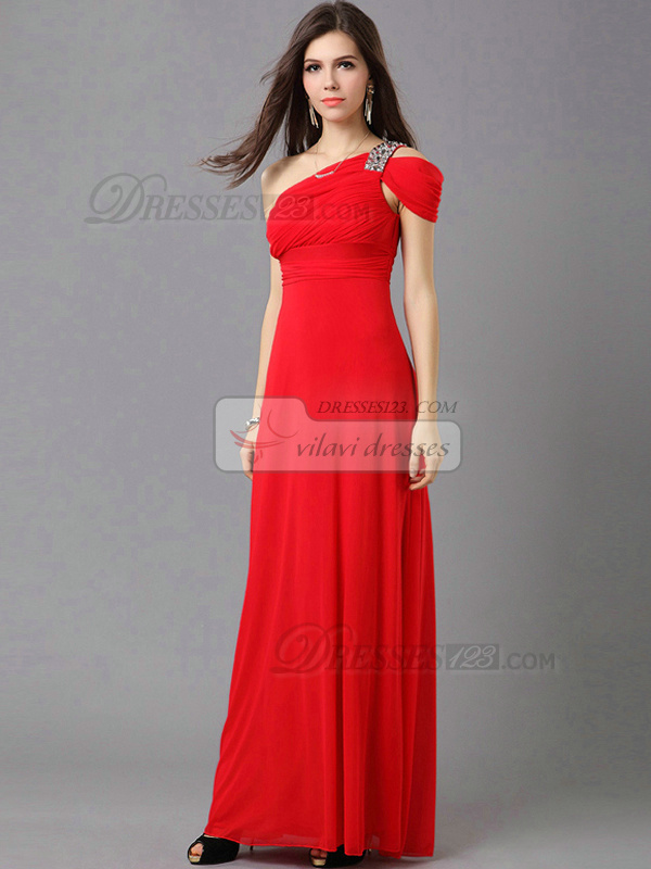 Column Asymmetrical Collar Floor-length Chiffon Rhinestones Wedding Guest Dresses