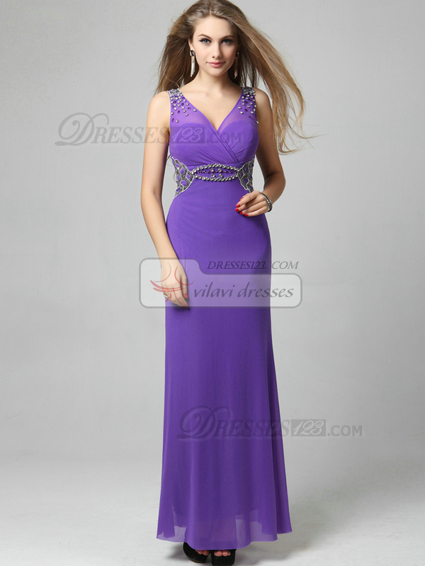 Sheath V-neck Floor-length Chiffon Sequin Prom Dresses