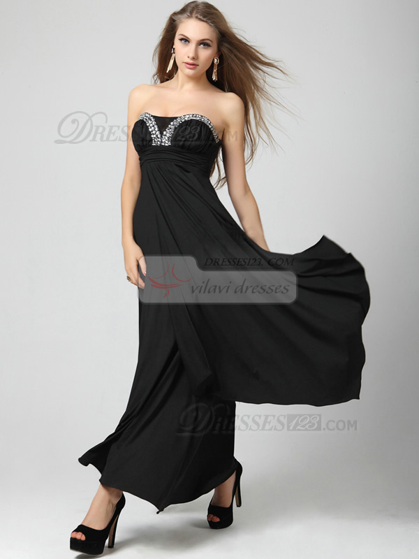 A-line Tube Top Floor-length Chiffon Rhinestones Prom Dresses