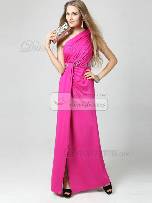 Sheath Asymmetrical Collar Floor-length Chiffon Split Front Prom Dresses