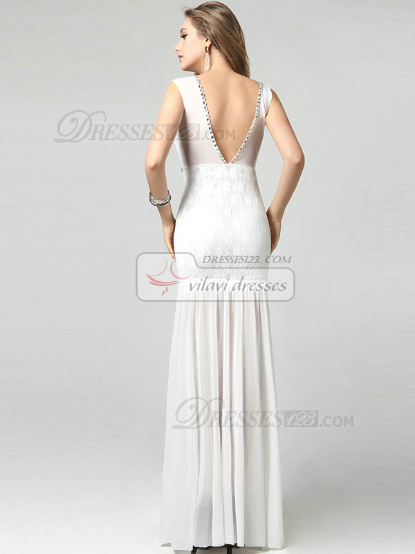 Mermaid Scoop Floor-length Chiffon Beading Lace Evening Dresses