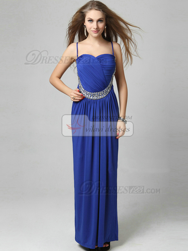 Column Straps Floor-length Chiffon Appliques Wrap Pleats Rhinestones Prom Dresses