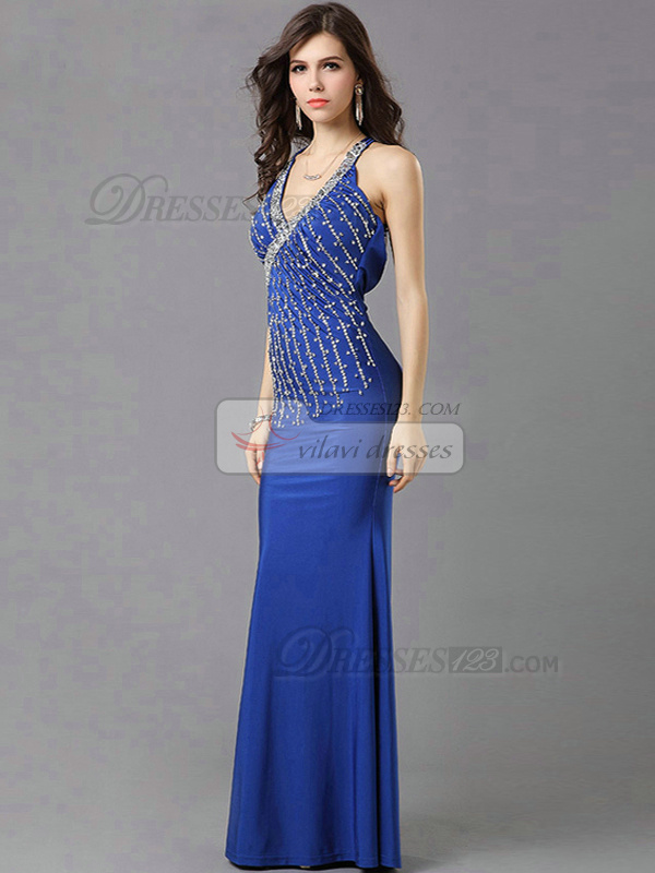 Mermaid V-neck Floor-length Chiffon Crystals Cross Straps Back Prom Dresses