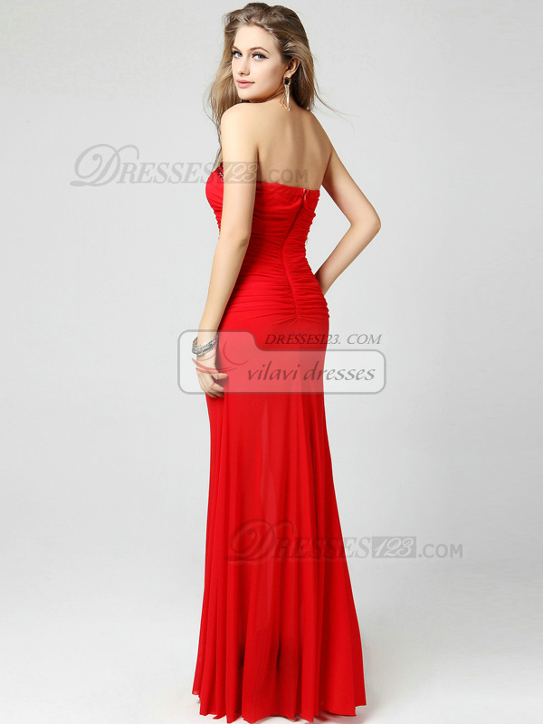 Mermaid Strapless Floor-length Chiffon Rhinestones Ruching Evening Dresses