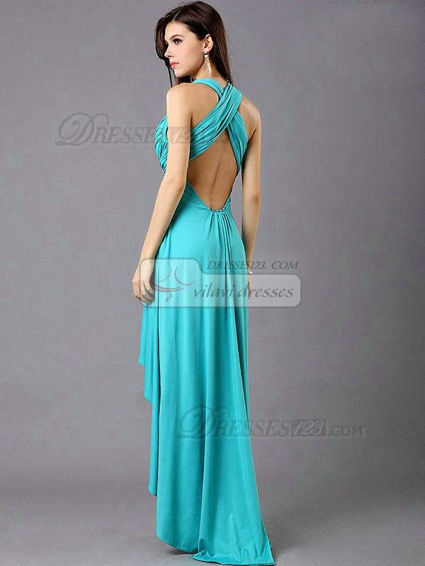 A-Line V-neck Sweep Train Chiffon Sequin High Low Prom Dresses