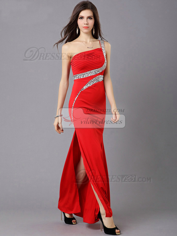 Over Hips One Shoulder Floor-length Rhinestones Chiffon Prom Dresses