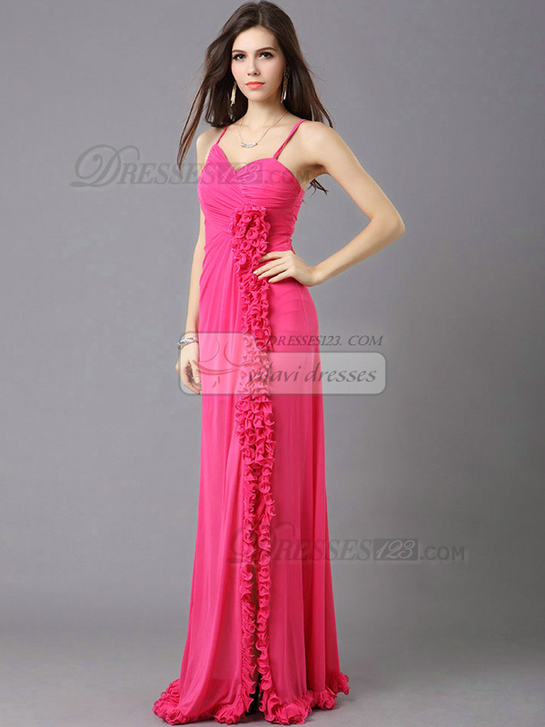 Column Straps Sweep Train Chiffon Split Front Open Back Prom Dresses