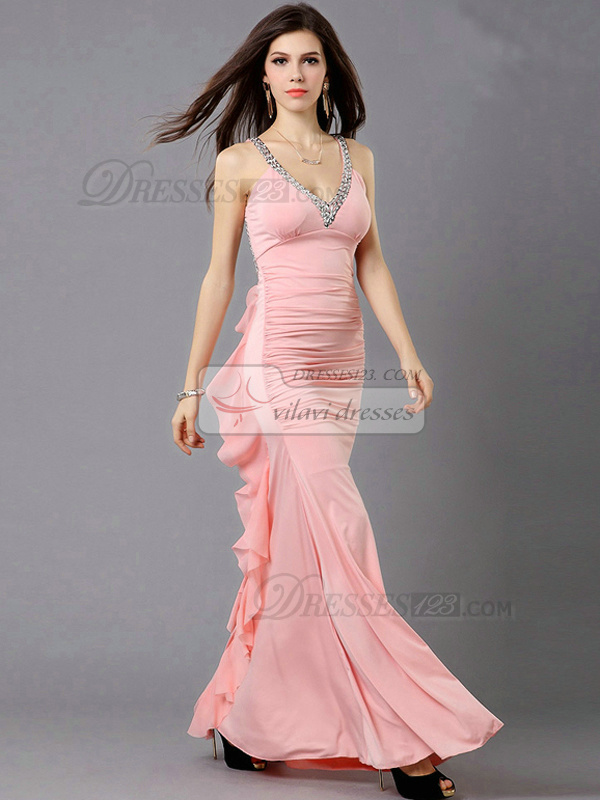 Column V-neck Floor-length Chiffon Sequin Side Split Ruffle Prom Dresses