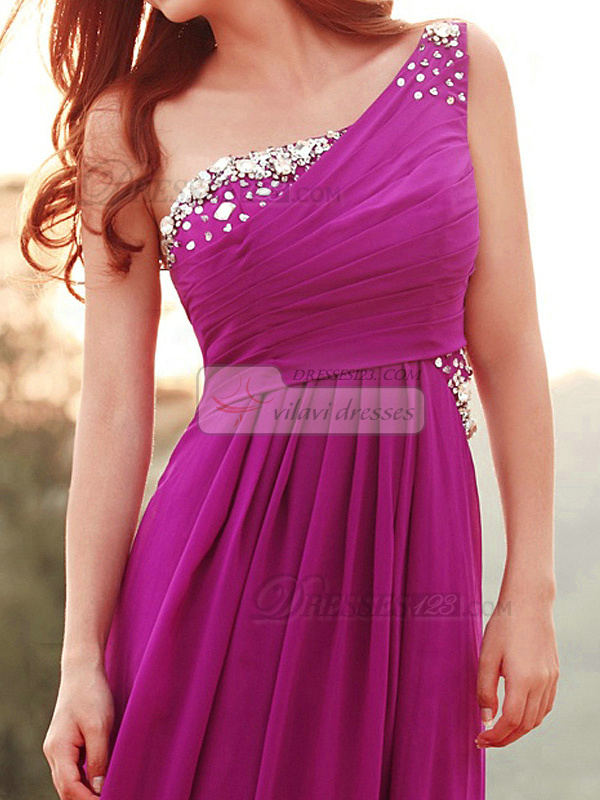 Sheath One Shoulder Brush Train Chiffon Sequin Ruching Prom Dresses