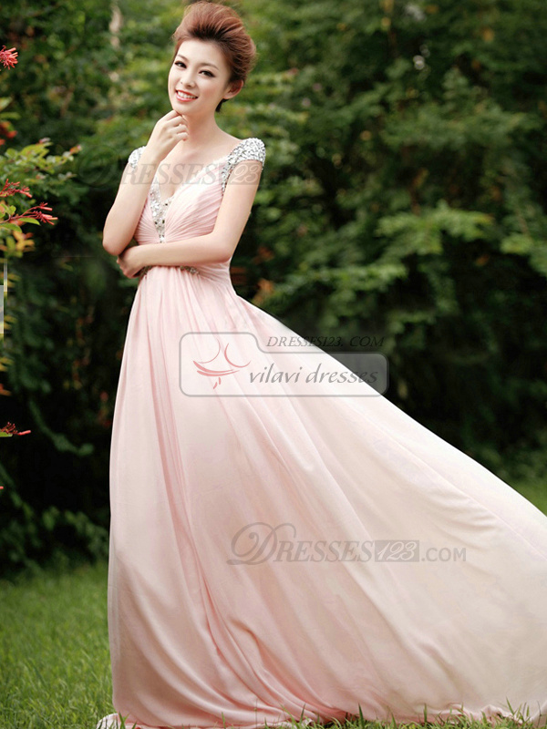 A-Line V-neck Rhinestones Straps Brush Train Chiffon Wrap Pleats Prom Dresses