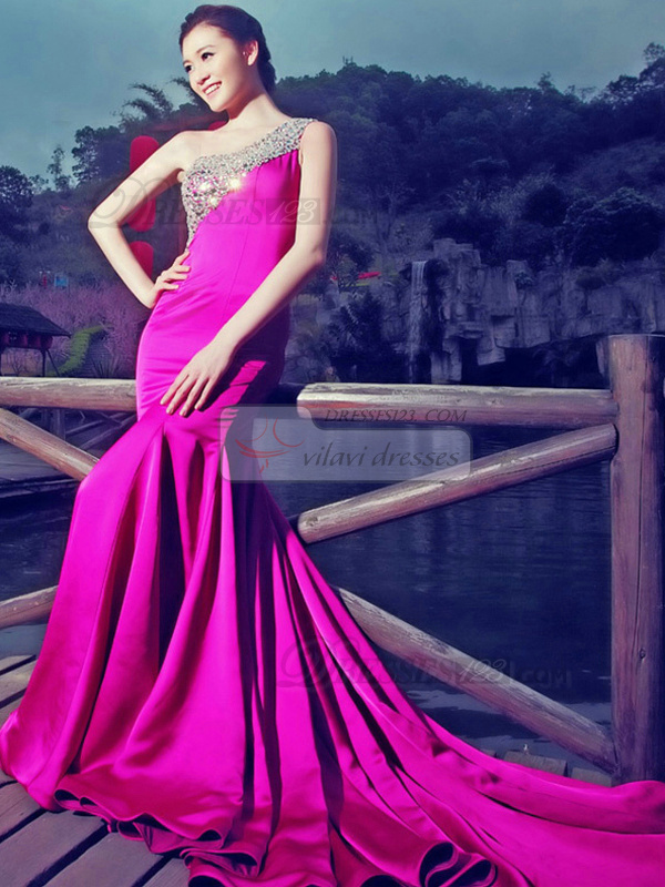 Mermaid One Shoulder Court Train Satin Crystal Evening Dresses
