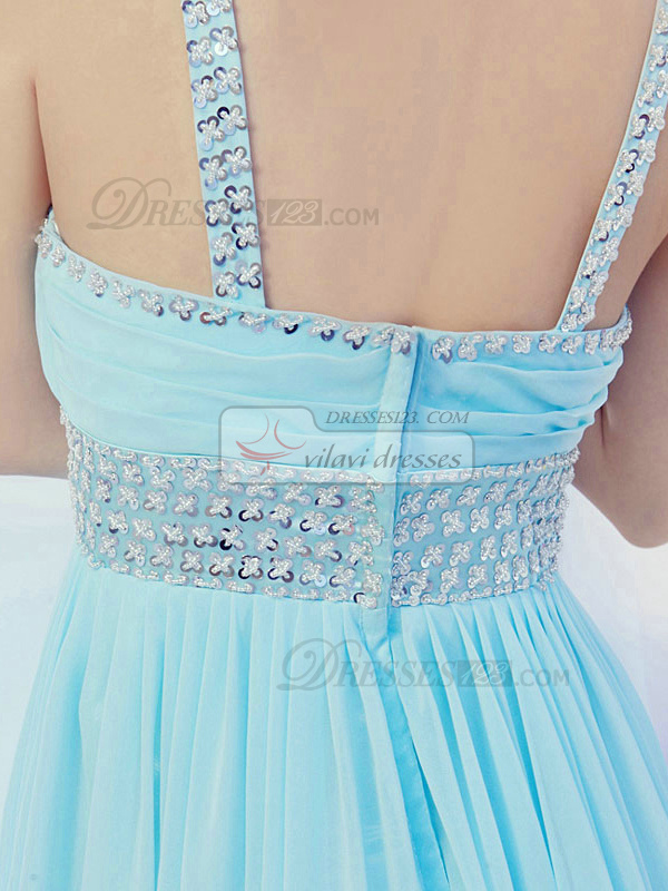 A-Line V-neck Floor-length Chiffon Sequin Prom Dresses