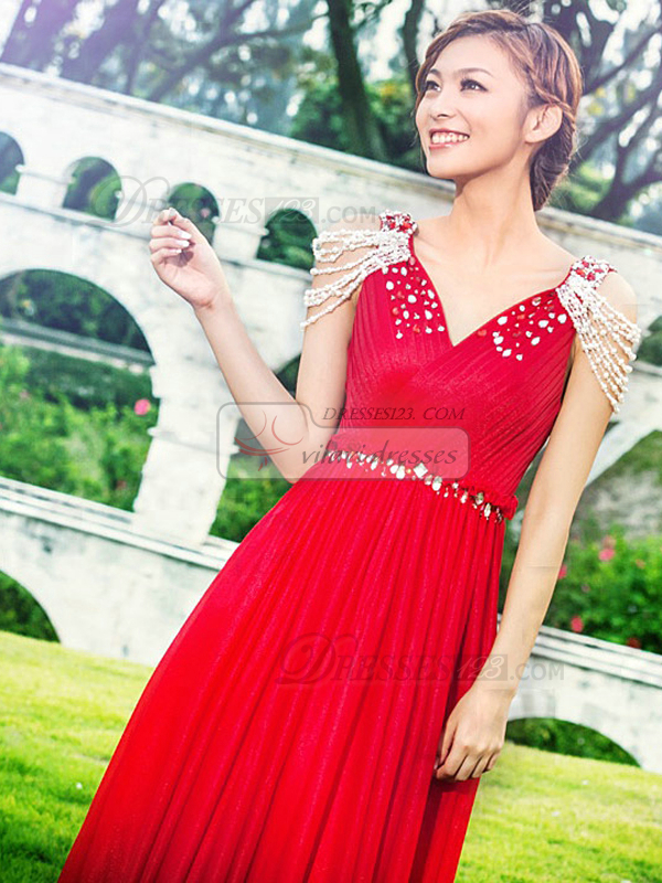 Column V-neck Court Train Chiffon Beading Prom Dresses With Jewelry Sleeves