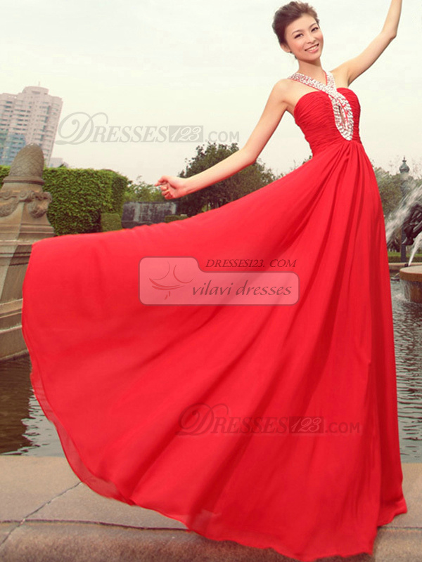 A-line Straps Floor-length Chiffon Sequin Prom Dresses