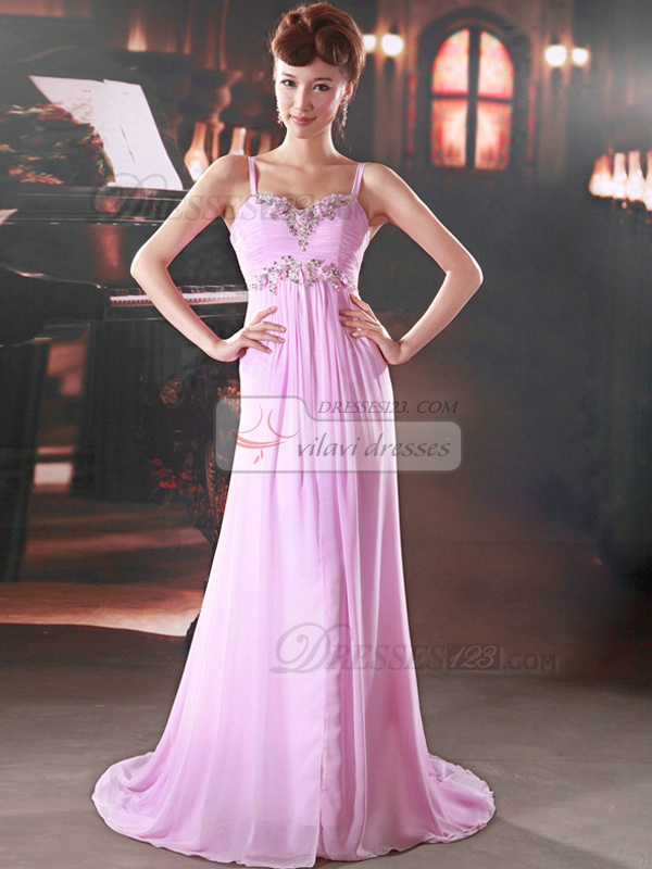 Column Spaghetti Straps Brush Train Chiffon Sequin Prom Dresses