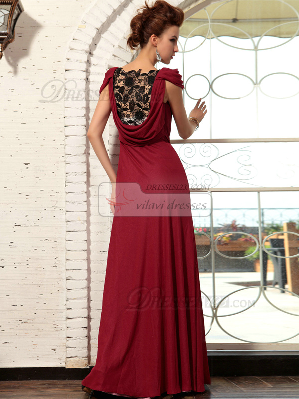 Sheath Round Brought Floor-length Chiffon Lace Prom Dresses With Cap Sleeves