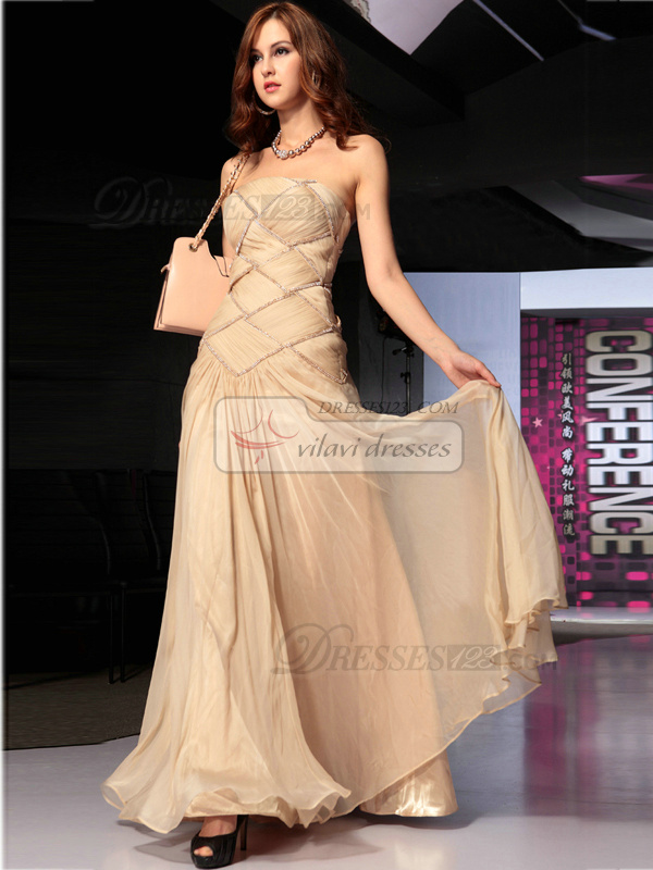 A-line Tube Top Floor-length Chiffon Rhinestone Prom Dresses