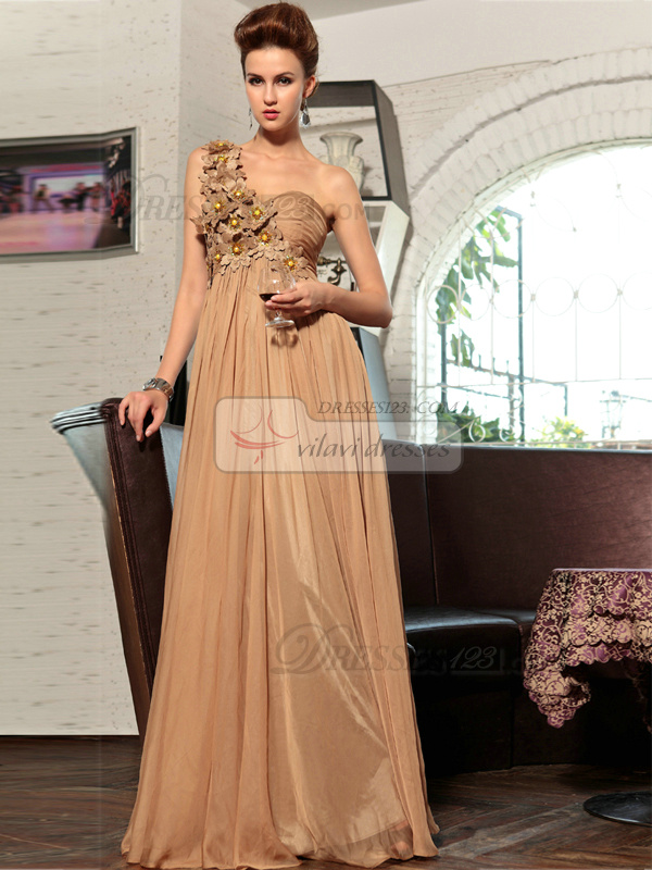 Column One Shoulder Floor-length Chiffon Flower Prom Dresses