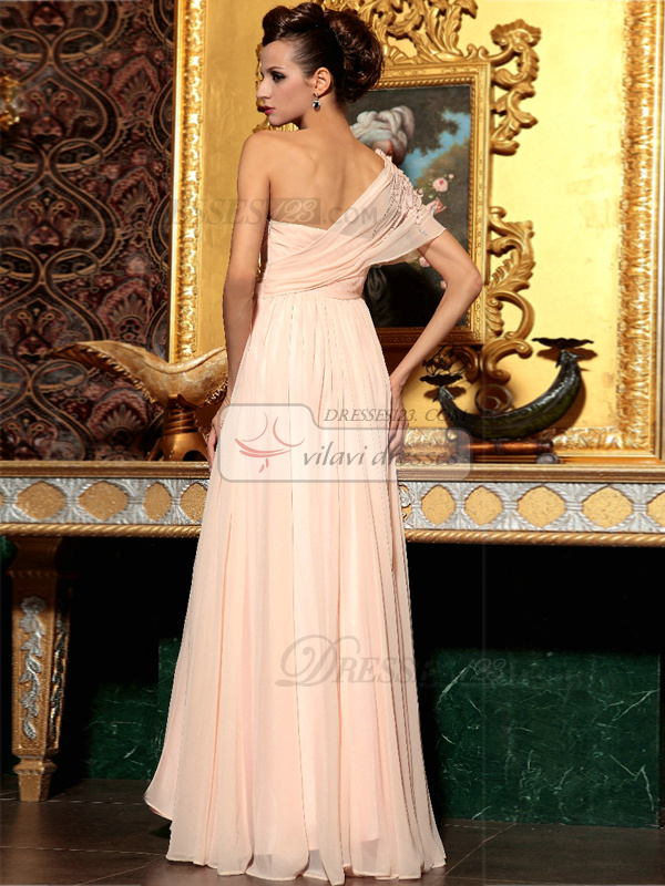 A-line Floor-length Chiffon Sequin Prom Dresses With Flowers