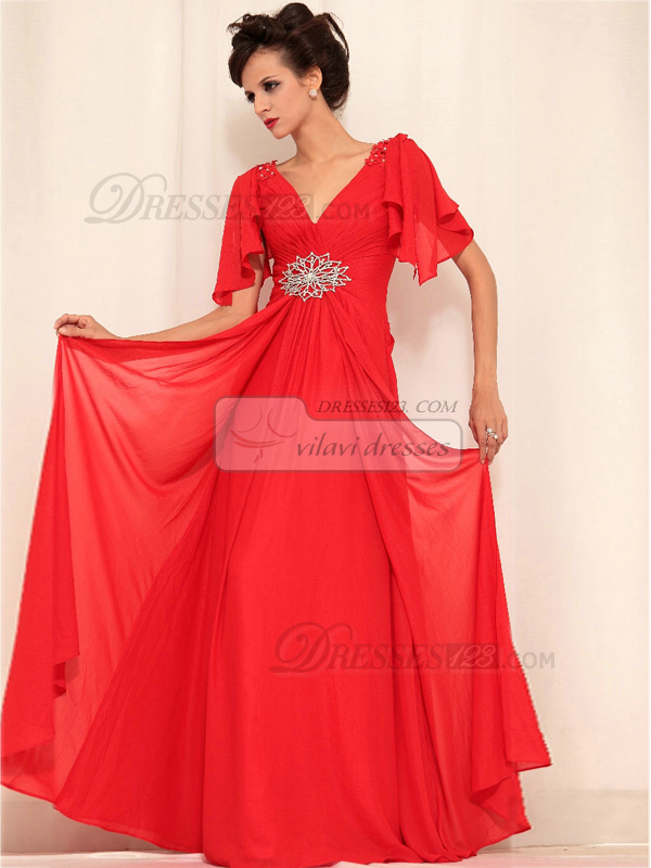 A-line V-neck Floor-length Chiffon Wrap Pleats Beading Prom Dresses With Lotus Leaf Sleeve