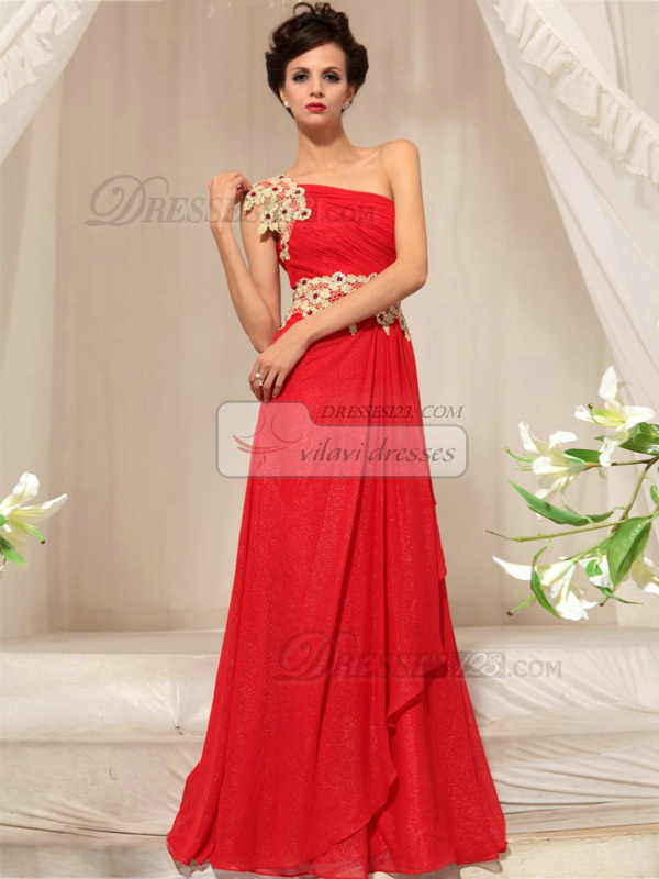 A-line One Shoulder Floor-length Chiffon Appliques Prom Dresses