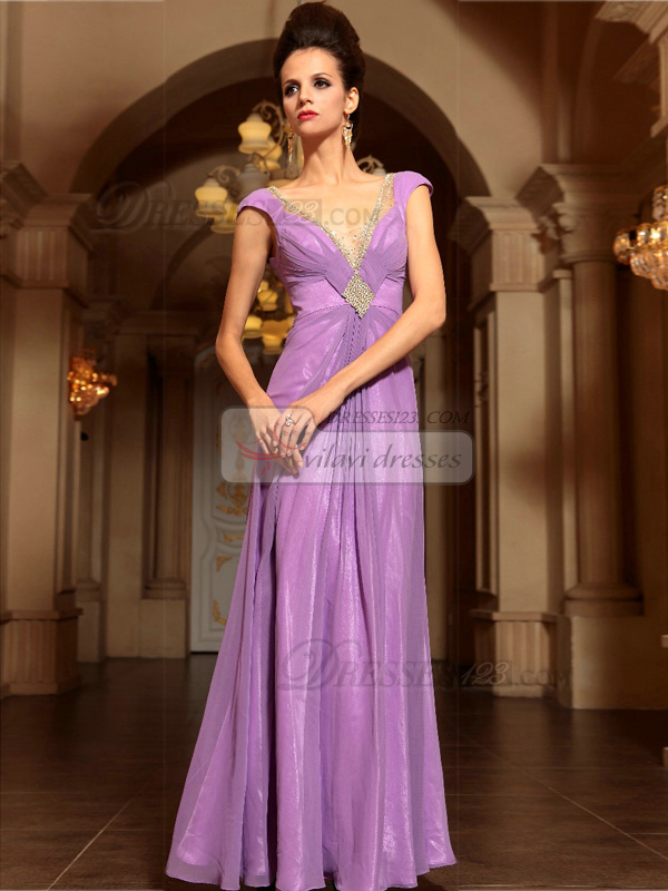 Column V-neck Floor-length Chiffon Rhinestone Prom Dresses With Open Back