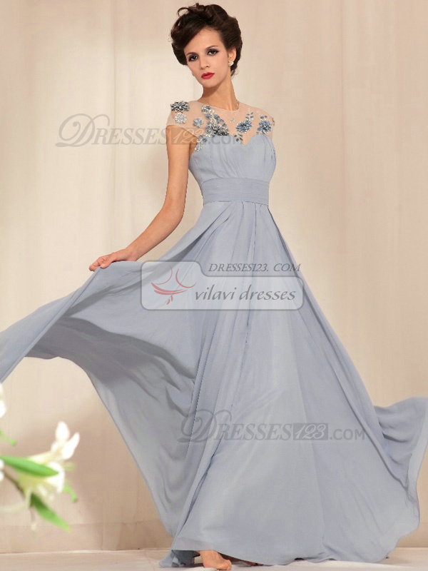 A-line Round Brought Brush Train Chiffon Sequin Open Back Prom Dresses
