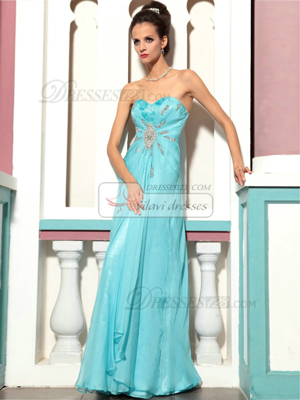 Sheath Sweetheart Floor-length Chiffon Crystal Prom Dresses