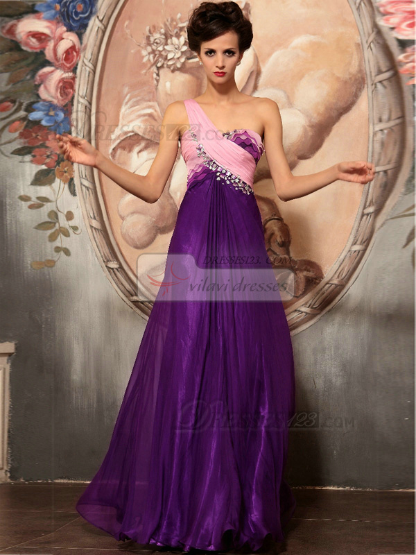 Sheath One Shoulder Floor-length Chiffon Rhinestone Prom Dresses