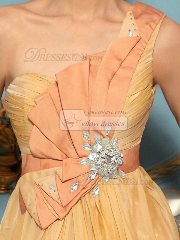 A-line One Shoulder Floor-length Chiffon Rhinestone Prom Dresses