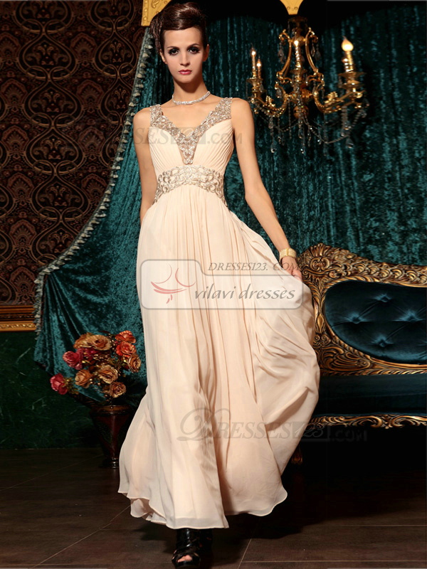 Sheath Straps Floor-length Chiffon Appliques Semi Transparent Prom Dresses