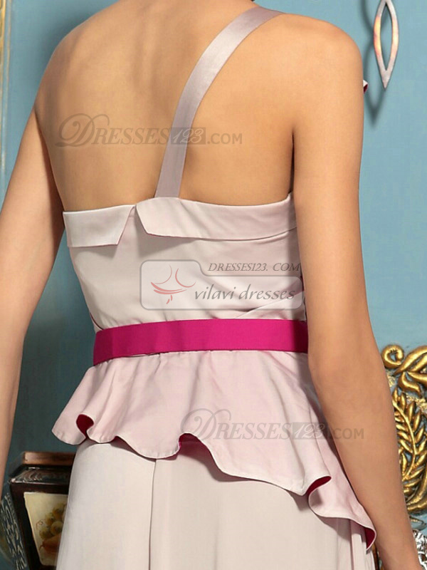 Sheath One Shoulder Floor-length Chiffon Ribbons Prom Dresses