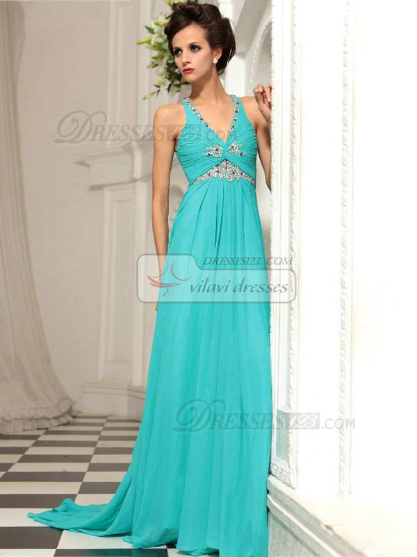 Sheath V-neck Sweep Train Chiffon Rhinestone Prom Dresses