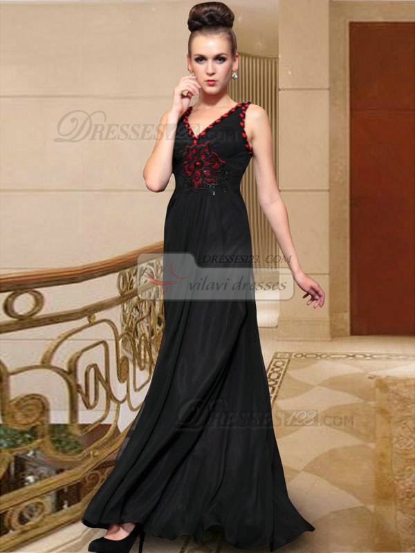 Sheath V-neck Floor-length Chiffon Beading Prom Dresses With Flower