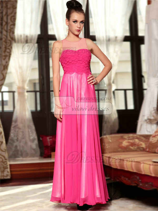 Column Round Brought Floor-length Chiffon Beading Prom Dresses