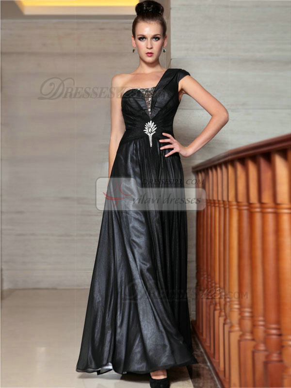 Column One Shoulder Floor-length Chiffon Rhinestone Prom Dresses