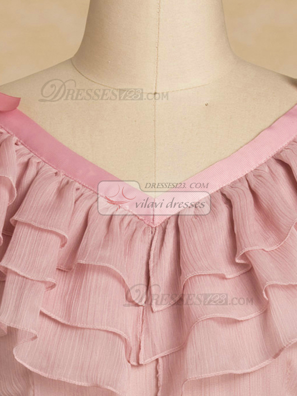 A-line V-neck Short Chiffon Print Collar Homecoming Dresses