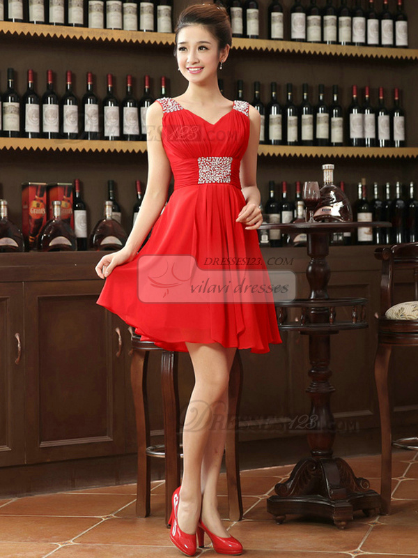 A-line Straps Short Chiffon Crystal Homecoming Dresses
