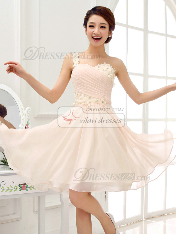 A-line Sweetheart Short Chiffon Crystal Homecoming Dresses