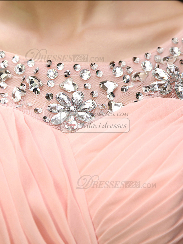 A-line Round Brought Mini Chiffon Crystal Homecoming Dresses